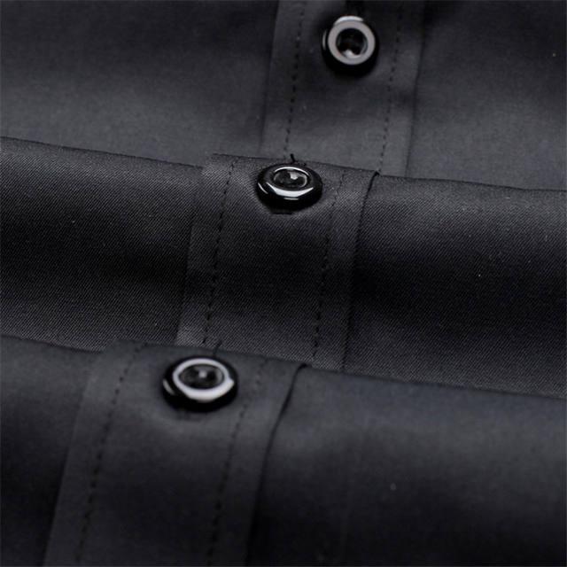 VISADA JAUNA Men Shirts Europe Size New Arrivals Slim Fit Male Shirt Solid Long Sleeve British Style Cotton Men's Shirt N332