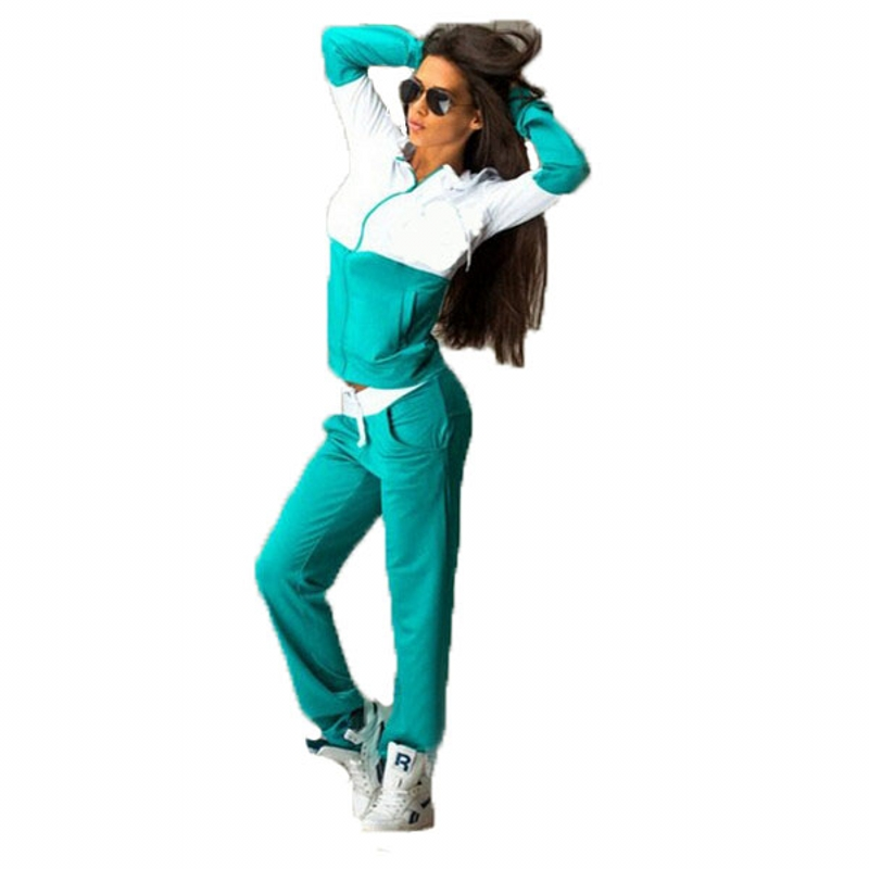 2 Κομμάτι Σέτ Γυναίκες 2019 Μόδα Μάρκα Ένδυση Patchwork Pocket Hoodies Ισοπαλία Κοστούμι Κορυφαία και Παντελόνια Παπούτσια Σετ Sweatpants