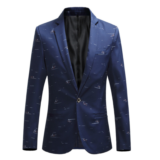 Plus size 5XL 6XL Fashion Men Slim fit Casual blazers men printing suits coat man clothes White Navy New Wine red 2018 Spring