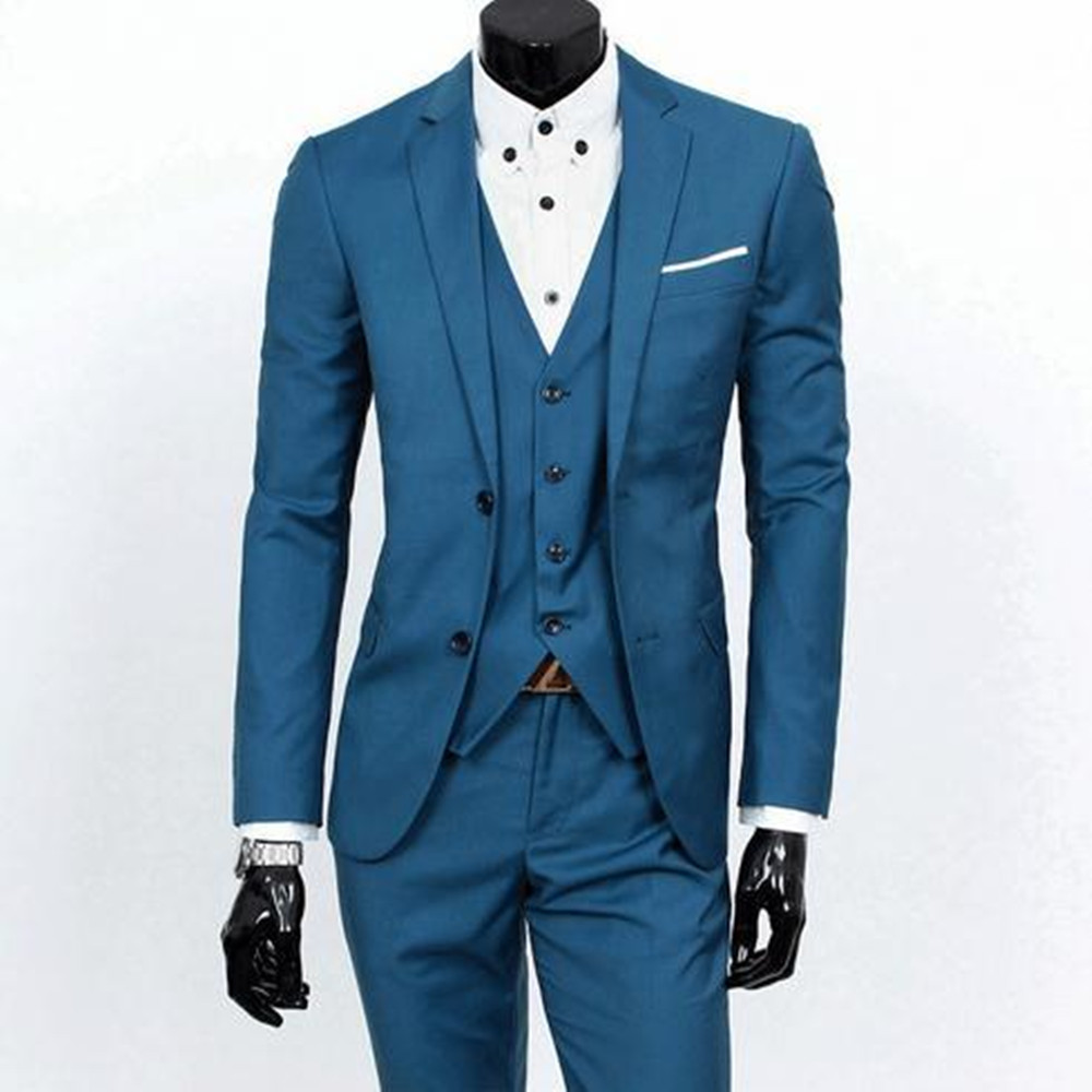 Jacket+Pants+Vest)2017 New wedding Solid color Suits For Men ...