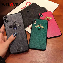 Hot Stylish 3D Metal Bee Vintage Diamond Leather Phone Case for iPhone 7 6 6s 8 Plus 10 X XR XS MAX glitter Classic emerald Case(China)