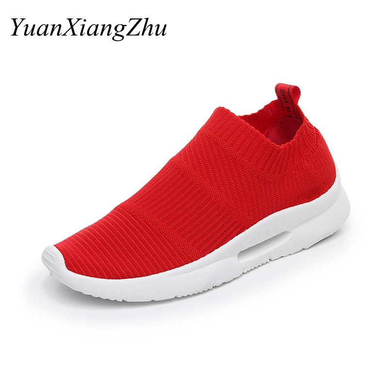 Summer Fashion Women Casual Shoes 2018 New Mesh Breathable Flat Women Loafers Harajuku Slip-On Light Red/Black Woman Sneakers new women s vulcanize shoes spring summer slip on sneakers black casual shoes women breathable hollow out woman sneakers