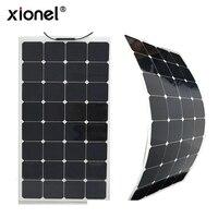 Xionel высокая эффективность Панели солнечные полу гибкие 100 Вт 18 В Солнечный Sunpower клеток Панель