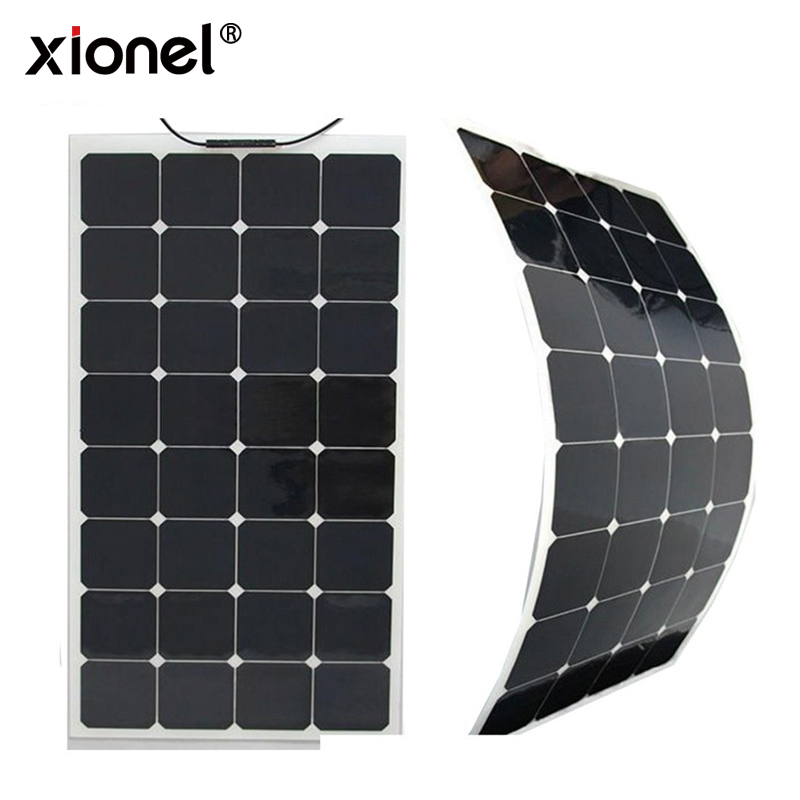 Xionel High Efficiency Solar Panel Semi flexible 100W 18V Solar Sunpower Cell Panel 100w 18v mono semi flexible solar panel with front junction box 22% high efficiency sunpower solar cell pv moudle for 12v system