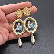 2019 barroco vintage exagerate gota pendientes mujeres grande larga pintura al óleo perla pendientes oro boda joyería Retro moda nuevo