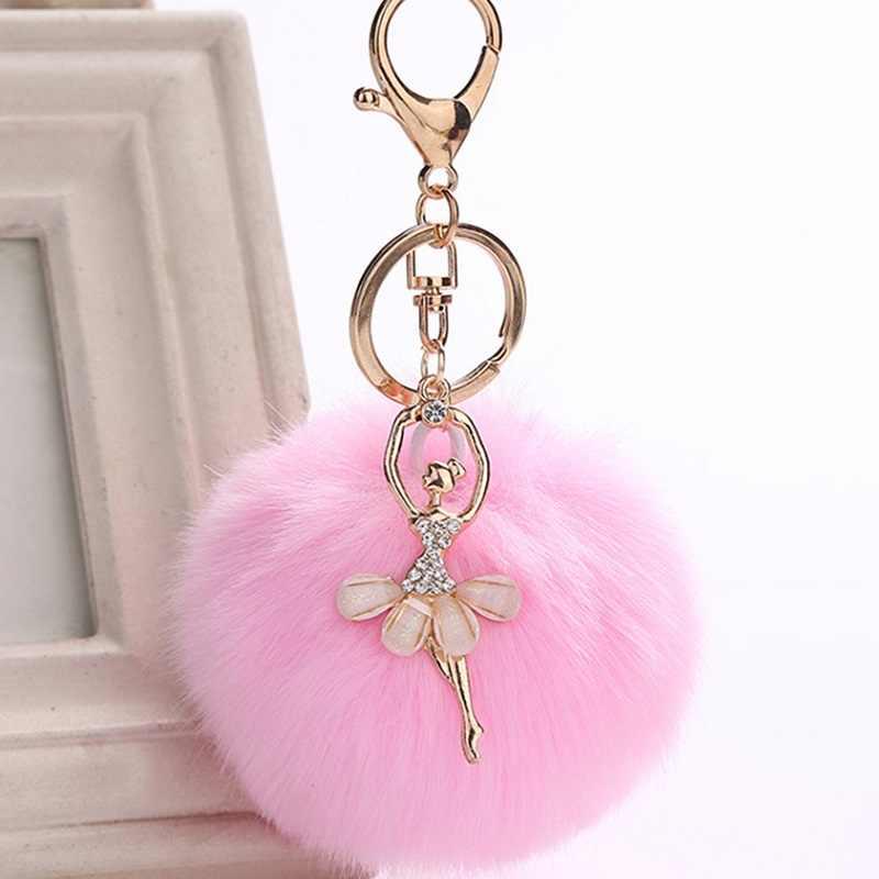 ... QCOOLJLY Fashion Women Rabbit Fur Cony Hair Ballet Dancer Beauty Ball Pom  Pom Charm Car Keychain ... 5426fa264