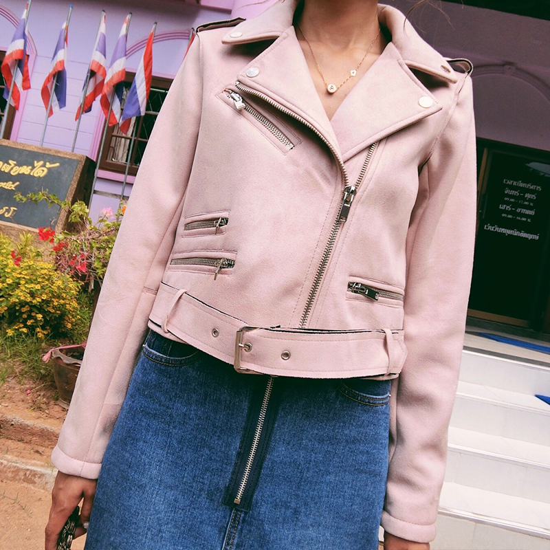 2019 New Autumn Winter Women Soft Suede Faux Leather Jackets and Coats Lady High Quality Matte Zippers Belt Outerwear Hot Sale