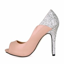2019 New women mujer open peep toe bling platform dress office prom work super heels high heel shoes for woman ladies pumps p2