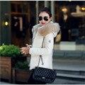 Mulheres Jaqueta de inverno 2016 Inverno Quente Para Baixo Revestimento das Mulheres da Moda Gola de Pele De Guaxinim Com Capuz Grosso Casaco de Inverno Mulheres Magras & Parkas