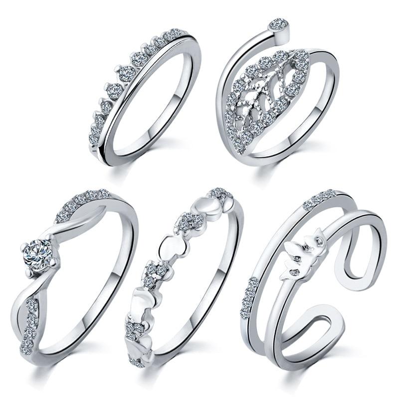 Heart 5 Ring Set