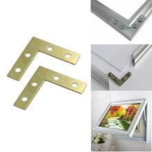 HOT 100PCS/LOT 38*38*9mm Gold L-shaped Metal Corner Brace 90 Degree Right Angle Fixed Bracket Shelf Support Furniture Connectors недорго, оригинальная цена