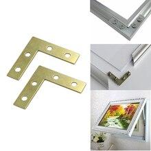HOT 100PCS/LOT 38*38*9mm Gold L-shaped Metal Corner Brace 90 Degree Right Angle Fixed Bracket Shelf Support Furniture Connectors цена