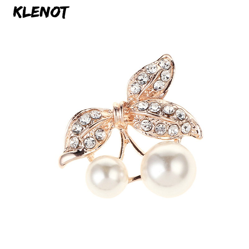 New Pearl Rhinestone Leaf Cherry Brooch Fruit Leaves Plant Pins and Brooches for Women Kids Party Dress Jewelry Hijab Scarf Pins