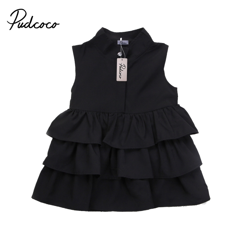 Newborn Kid Baby Girls Party Pageant Cake Ruffle Tutu Dress Bubble Clothes O-Neck Black Green Sleeveless Dress women s stylish v neck sleeveless green print dress
