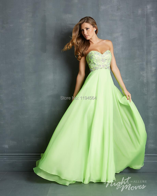 Free Shipping Slim Lime Green Prom Dresses Chiffon 2014 Appliques ...