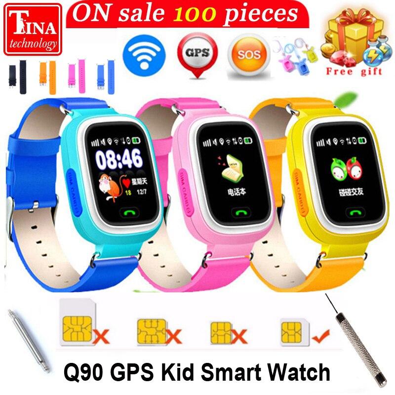 GPS Q90 SmartWatch Сенсорный экран WI-FI позиционирования Дети smart наручные часы Locator PK Q50 Q60 Q80 для малыша Безопасный Anti- потерянный