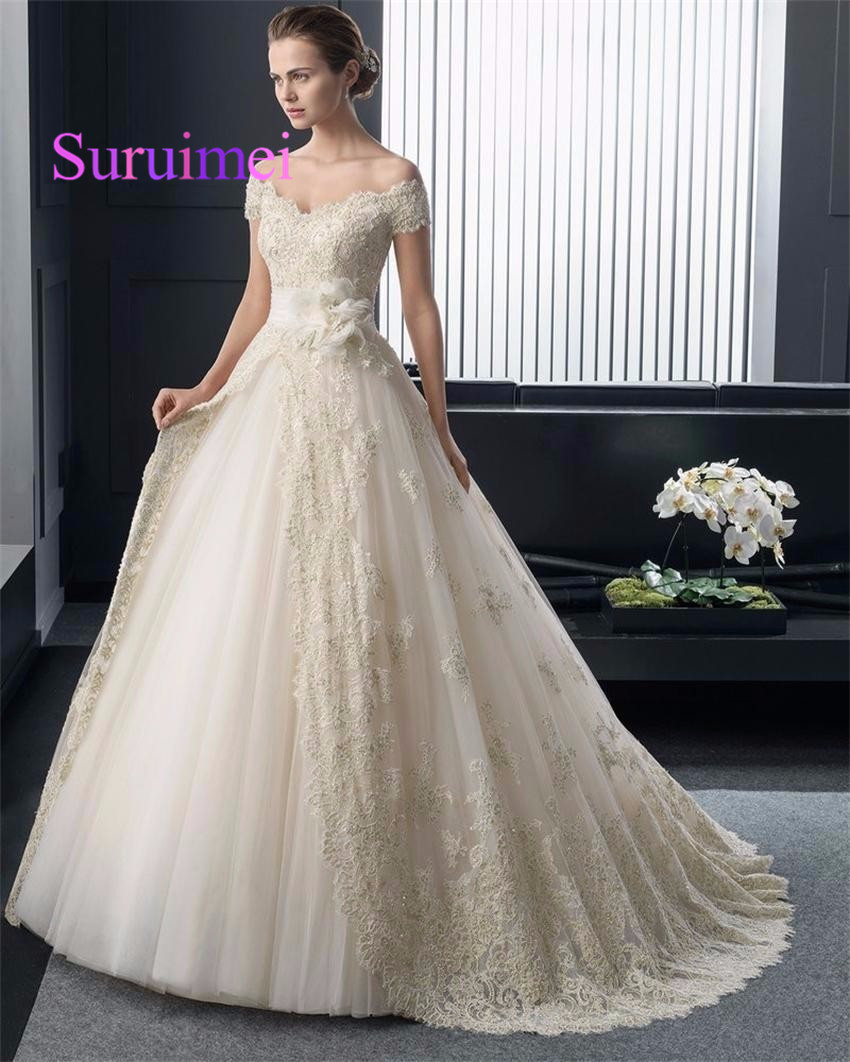 fb334838a3b9 Hot New Arrival Fashionable Ivroy Organza Lace Princess Wedding dresses 2019  V-Neck Sexy Luxury