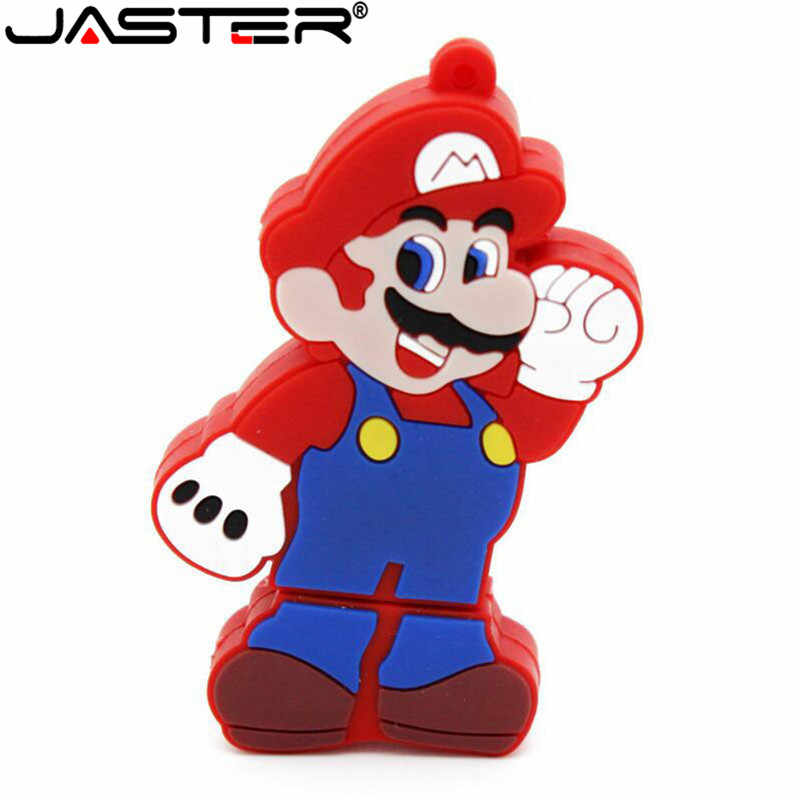 JASTER drive USB 2.0 flash Super Mario U drive 4 GB 8 GB GB GB 64 32 16 GB pen mary dos desenhos animados flash drives usb flash drive de memória presente