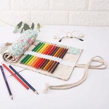 купить Floral Print 12/24/36/48/72 Holes Canvas Roll Up Makeup Pencil Bag Wrap Curtain Pen Case Holder Storage Pouch дешево