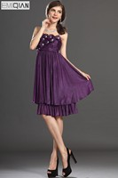 Free Shipping New Lovely Strapless Flowers Pleated Chiffon Club Dress