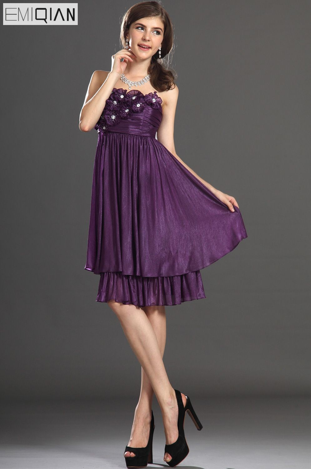 Free Shipping New Lovely Strapless Flowers Pleated Chiffon Cocktail Party Dress