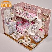 MIGNON ROOM diy poupée maison miniatures en bois jouets H006 Dream Angels moveis casa de boneca pour les enfants cadeau