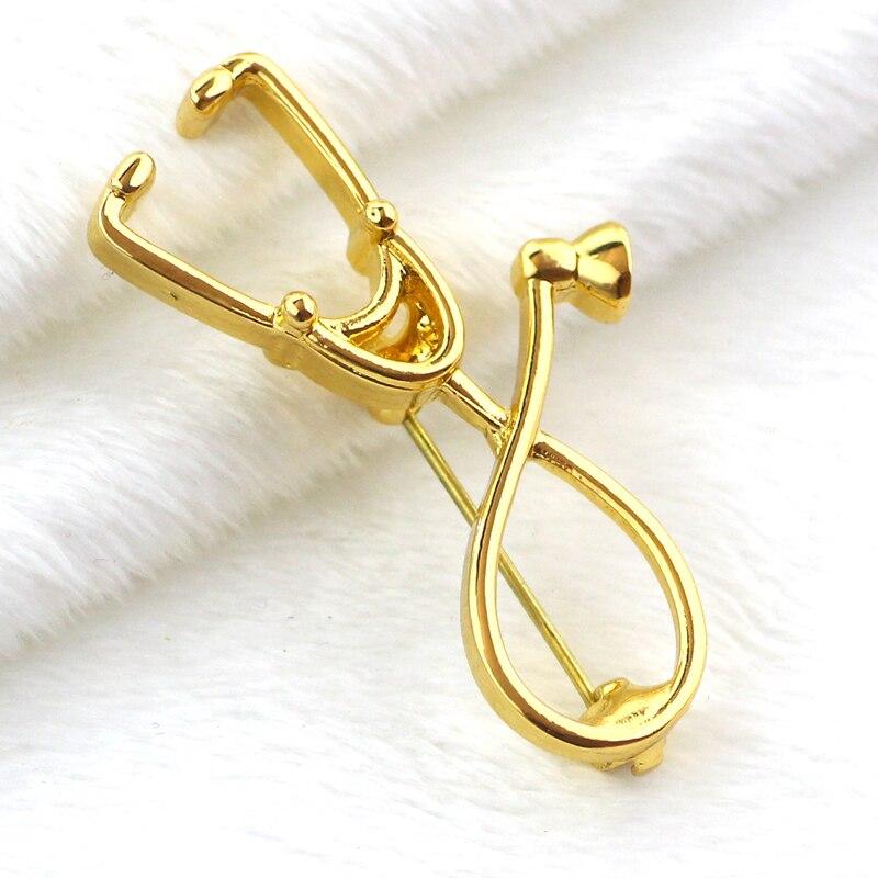 2017 Stethoskop Brosche, Mode Medizinische Schmuck Gold Rose Stethoskop Pin Für Krankenschwester Ärzte Medizinische Student Graduierung Geschenk Feine Verarbeitung
