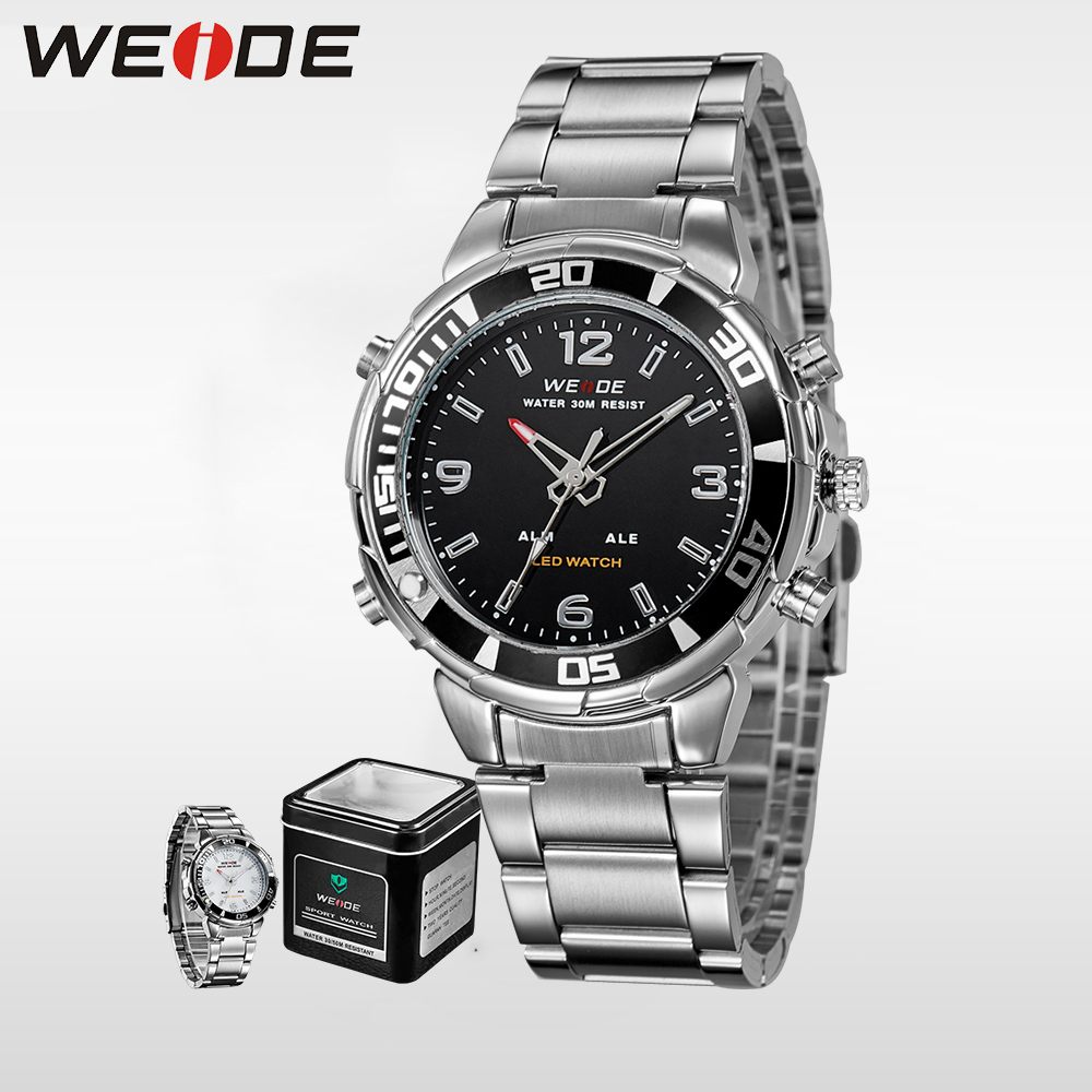 LED Quartz Sport Watches Stainless Steel Waterproof  Clock Box