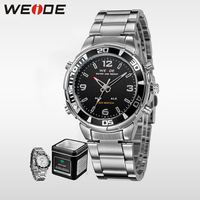 WEIDE Top Brand Luxury LED Quartz Watch Men Sport Watches Stainless Steel Waterproof Relogio Masculino Clock