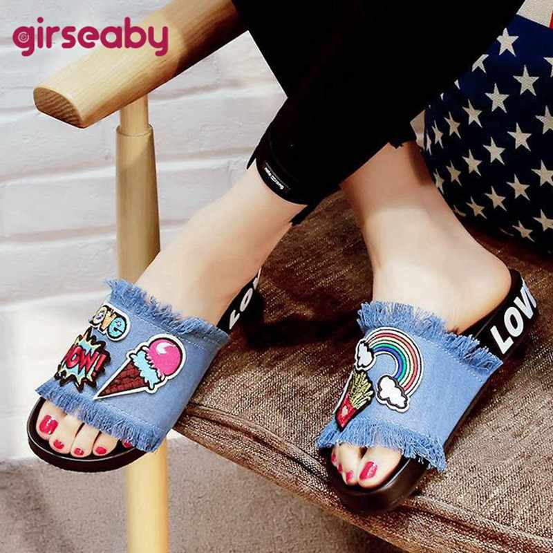 06610a25a Girseaby 2019 Cute demin jeans Platform Slippers Women cartoon Summer  Slides Beach Flip Flops outdoor Flat