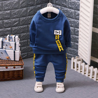 The trend of children's sport suit autumn new ribbon long sleeved sweater suit for boy dress