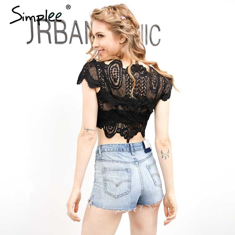 3051d4c79ed7 ... Simplee Apparel Summer style elegant black lace crochet crop top Girls  short sleeve white blouse Women ...