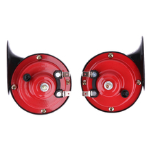 Universal 1 sets  all 12V car Loud Car Dual-tone Snail Electric Air Horn Siren red and black color free shipping