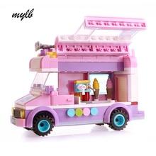 mylb Mobile ice cream truck Building Blocks Bricks Toys For Children Christmas Gift for kids drop shipping
