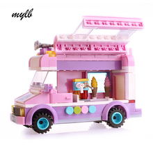 mylb Mobile ice cream truck Building Blocks Bricks Toys For Children Christmas Gift for kids drop shipping