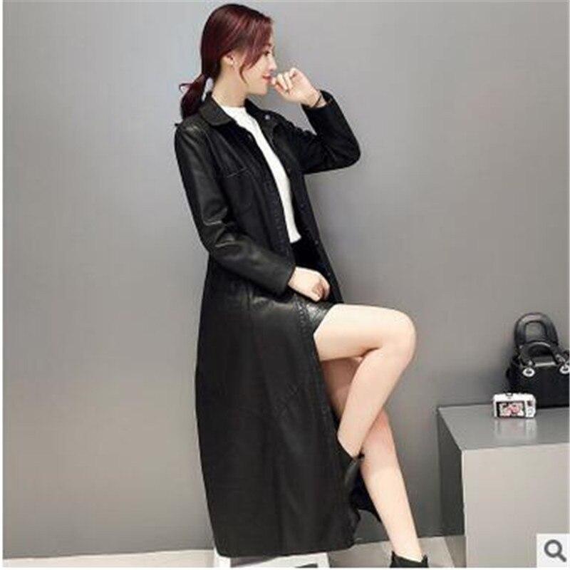 Veste Mode Black Pu Yagenz Nouvelles D'hiver Détendue Long Cuir Vêtements Élégant Kg143 Dames Paragraphe Manteau Coréen En 2017 Y1FdqwF