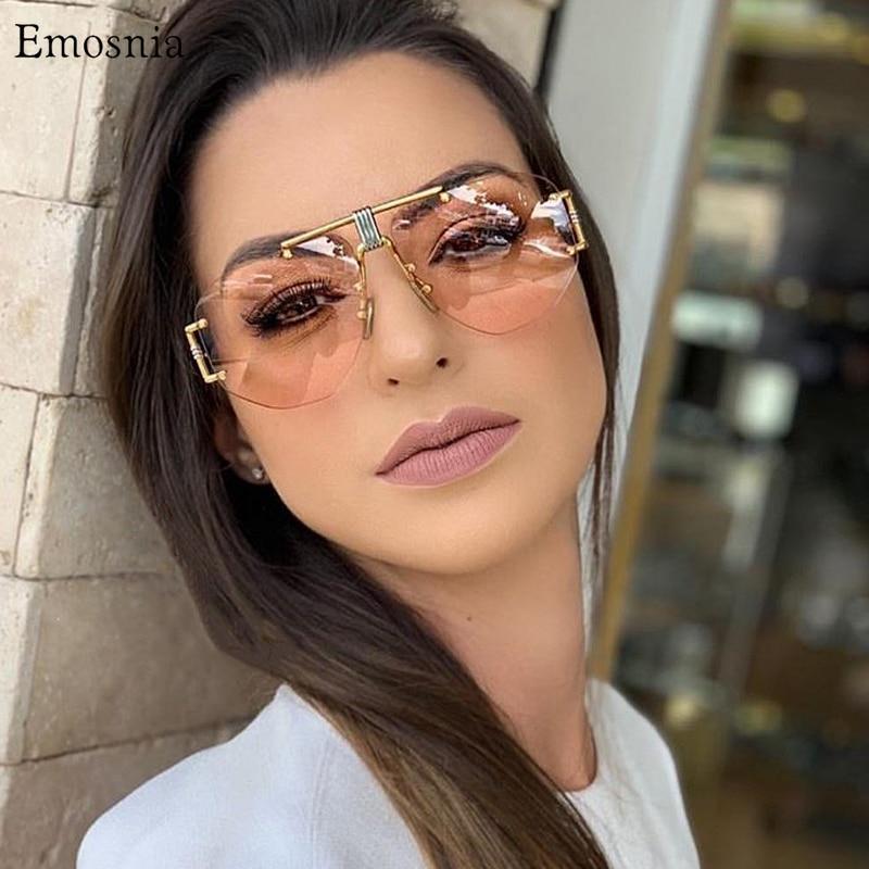 Emosnia Pilot Gradient Lens Sunglasses Fashion Unisex Rimless Pilot Sun Glasses For 2019 Outdoor Eyewear UV400 Gafas De Sol