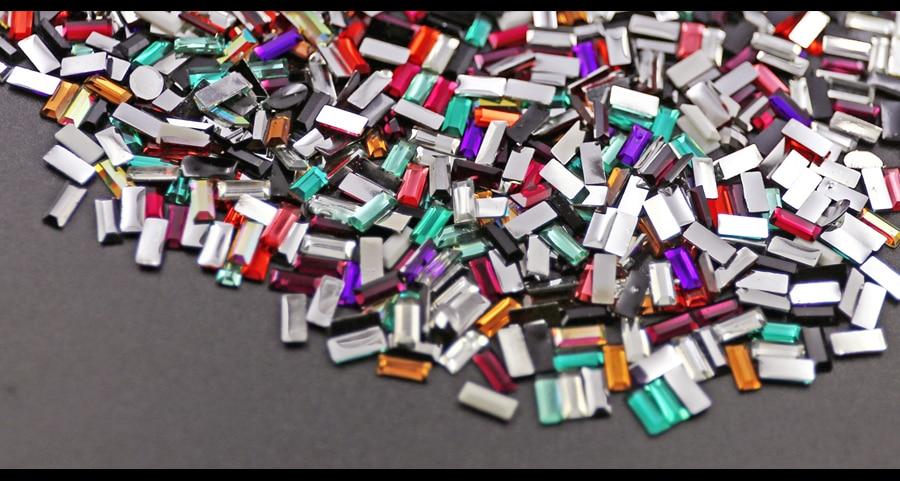 800 TEILE / LOS Mix Farben 7x3mm Rechteck Harz Strass Nagel Kristall - Kunst, Handwerk und Nähen - Foto 6