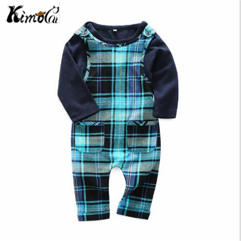 Kimocat baby new Spring and autumn boy clothes Blue Classic Plaid Jumper infant 2pcs baby boy sets