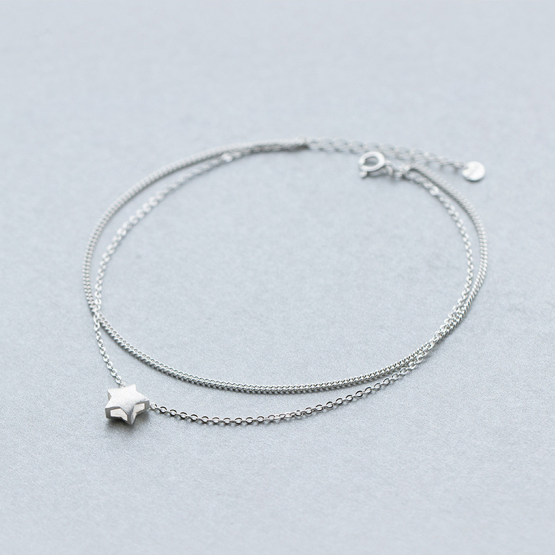 MloveAcc 925 Sterling Silver Female Anklet Chain Star Charm Double Layer Fashion Foot Chain Girl's Jewelry