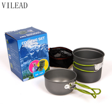 2Pcs/Set Portable Outdoor Tableware Camping Hiking Travel Utensils Picnic Cookware Bowl Pot Pan Set for 1-2 People DS-101