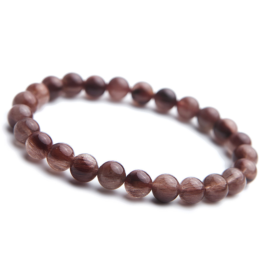 9mm Brazil Natural Red Rutilated Quartz Crystal Clear Round Beads Jewelry Stretch Bracelet For Women