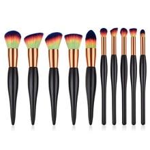 10pcs makeup brush set for Foundation blush Liquid Kabuki brush Makeup Brush Oblique Head Eye shadow Brush kit T10104 недорого