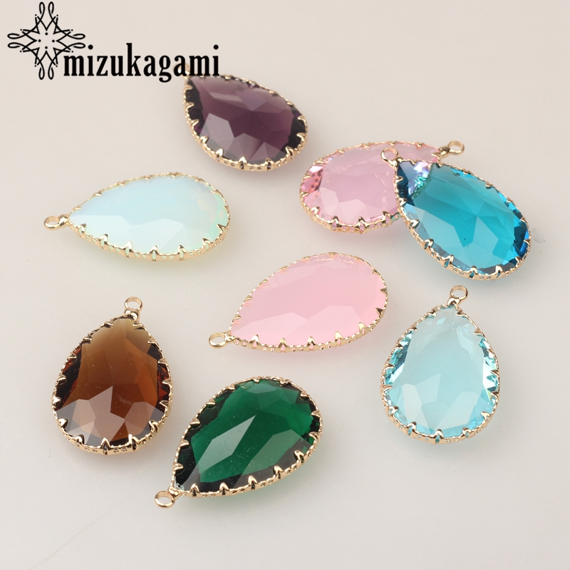 Crystal Birthstones Water Drop Charms 21*35MM 6pcs/lot For Glass Living Memory Locket DIY Accessories