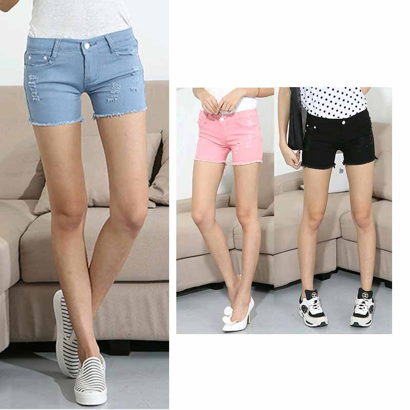 Hot sale Female Casual Short Jeans girls Slim Ripped Shorts Elastic Short Jeans Candy-Color Skinny Trouse Women Promotion Price