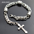 AMUMIU Cross Stainless Steel Bracelet Rope Chain Link Hand Charm Men Jewelry Women Accessories Wholesale HZB031