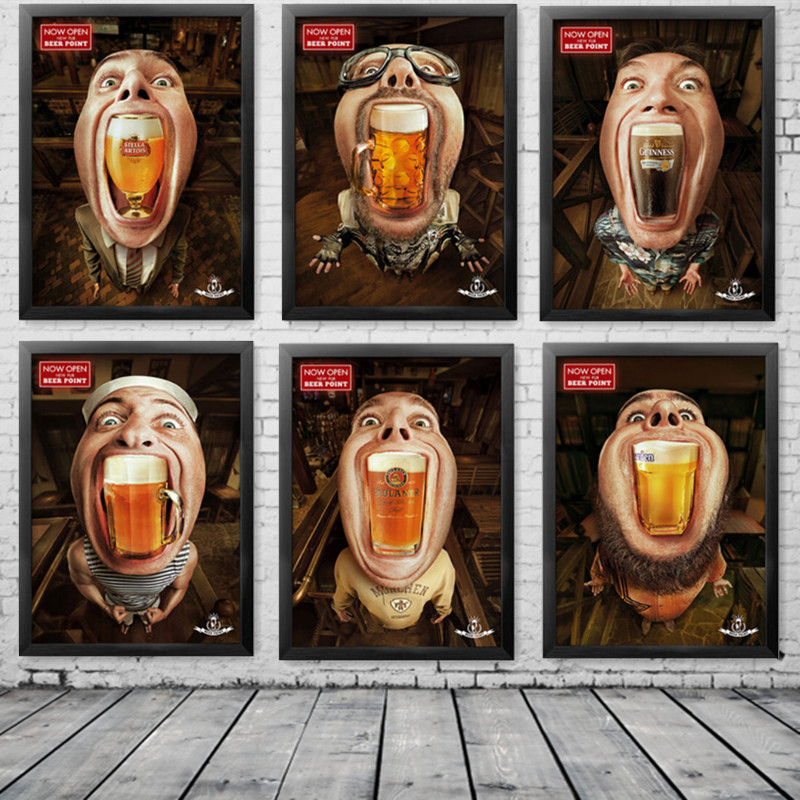 Modern oil painting creative beer bar poster decoration for Poster mural zen deco