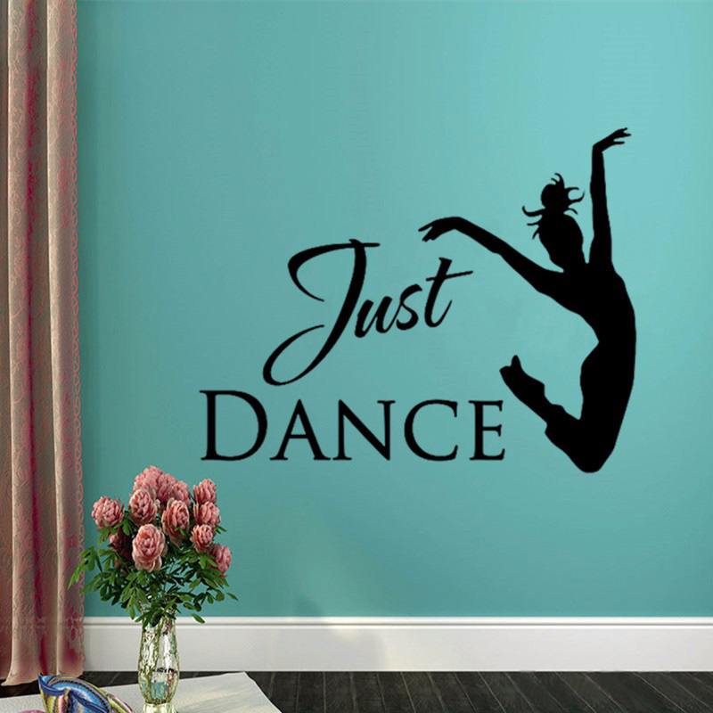 T08008 Modern Girls Dorm Wallpaper Ballet Dancer Wall Decal Dance Studio Wall Art Decoration