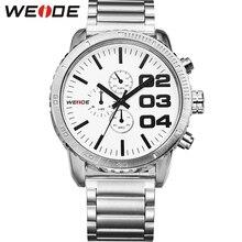 Лучшие продажи! оригинал WEIDE аналоговый дисплей 3ATM водонепроницаемый японский Miyota 2035 мужчин кварцевые движение спорт военная часы