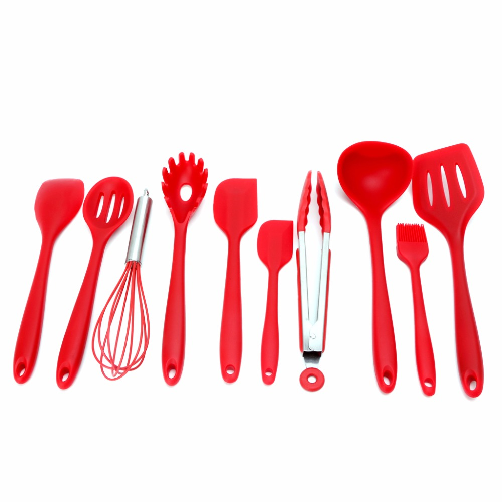 10Pcs Red Heat Resitant Non-stick Silicone Kitchen Utensils Set Cooking Bake Tool Spatula Spoon Brush Wisk Tong Cook Tools C42